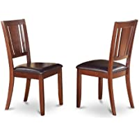 East West Furniture DUC-MAH-LC Dining Chair Set with Faux Leather Upholstered Seat, Mahogany Finish, Set of 2