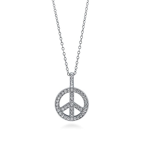 BERRICLE Rhodium Plated Sterling Silver Cubic Zirconia CZ Peace Sign Fashion Pendant Necklace 18