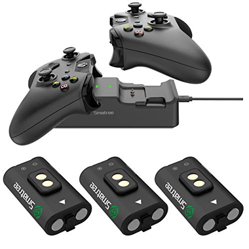 Smatree Rechargeable Battery 3 Packs with Dual Charging Station High Speed Docking Compatible for Xbox One/Xbox One X/Xbox One S/ Xbox One Elite Wireless Controller ()