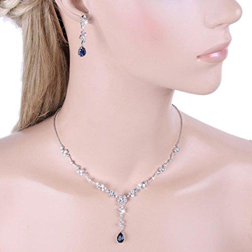 EVER FAITH Silver-Tone CZ Elegant Floral Tear Drop Pendant Necklace Earrings Set Sapphire Color