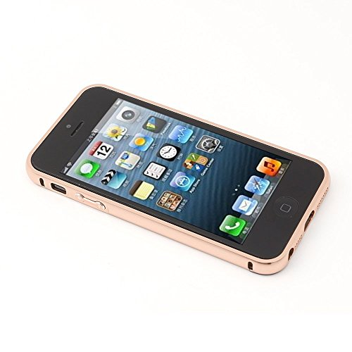 iProtect Luxus 2in1 Metall Schutzhülle und Bumper Apple iPhone 5, 5s, SE Spiegel Hülle Hard Case Mirror Effect - roségold