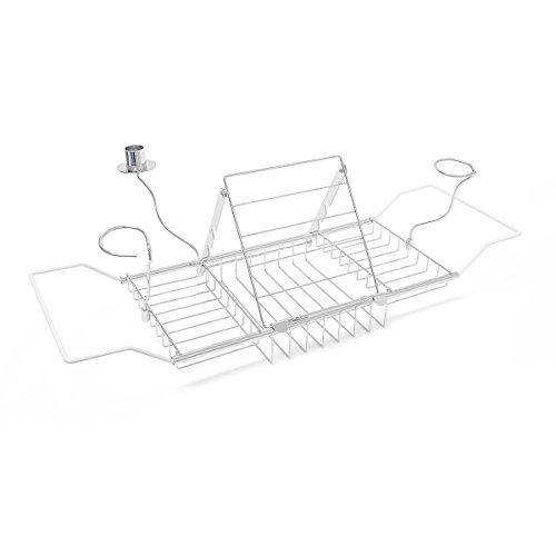 Relaxdays Badewannenablage Edelstahl-Optik mit neigbarer Buchstütze ausziehbar von 62 - 92 cm für jede Wanne Badewannenbrett mit Kerzenhalter + 2 Gläserhaltern Badewannenbrücke für Wellness, silber