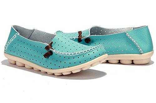 Lucksender Dames Ronde Neus Ademend Doordrongen Comfort Rijdende Loafers Schoenen Hemelsblauw (geknoopt)