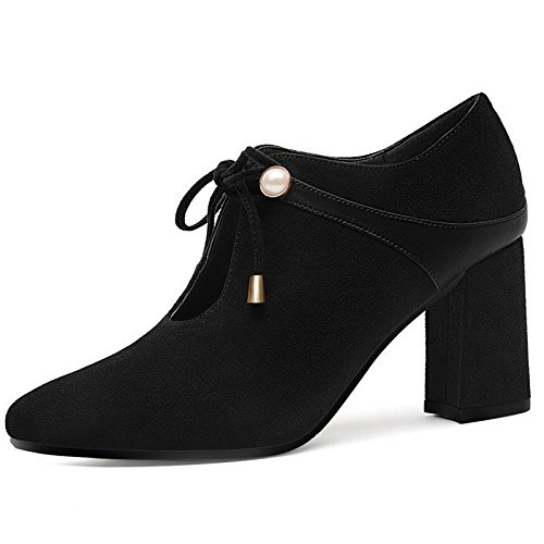 AJUNR Moda/elegante/Transpirable/Sandalias Sharp rough Heels solo damas zapatos zapatos de cuero Tacones altos (6-8cm) black