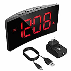 PICTEK Digital Alarm Clock, 5'' Dimmable Curved LED Screen Time Clock for Kids Bedrooms Desk Living Room, Big Digit Display, Snooze, 12/24 Hour, Battery Backup, USB Charger, Power Adapter, Red