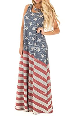 FISACE Women's Sleeveless USA Flag Tank Dress Maxi Dress Ankle Length
