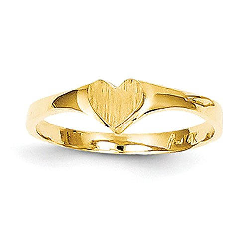 K Yellow Gold Signet Heart Ring (14k Gold Baby Signet Ring)