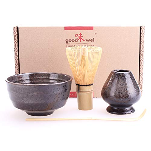Goodwei Juego de te Matcha - Bol de te, batidor y soporte incl Caja de regalo (Goma)