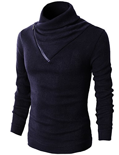 H2H Mens Fashion Turtleneck Slim Fit Pullover Sweater Oblique Line Bottom Edge NAVY US S/Asia M (KMTTL041)