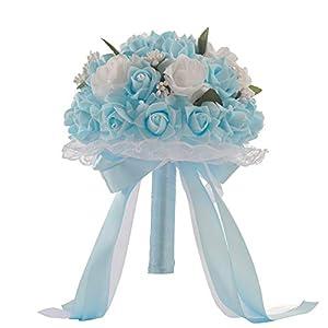 SIUONI Elegant Bride Holding Bouquet Romantic Rose Pearl Crystal Wedding Bride/Bridesmaid Bouquet Satin Flower(Light Blue) 70
