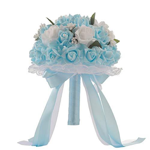 SIUONI Elegant Bride Holding Bouquet Romantic Rose Pearl Crystal Wedding Bride/Bridesmaid Bouquet Satin Flower(Light Blue)
