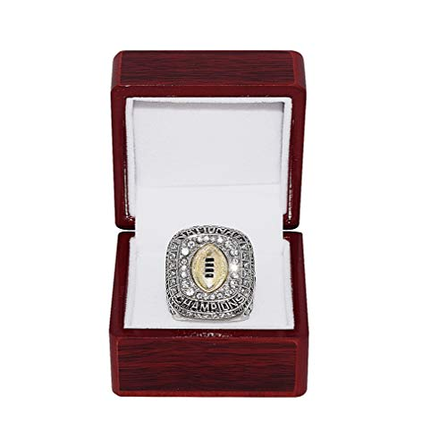 OHIO STATE UNIVERSITY BUCKEYES (Corey Smith) 2015 BCS NATIONAL CHAMPIONS (Playing Vs. Oregon Ducks) Collectible Replica NCAA Football Silver Championship Ring with Cherrywood Display Box