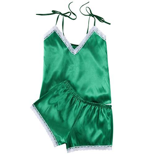 2PC Women's Plus Size Lingerie Lace Sexy Nightdress Babydoll Sleepwear Passion Nightgown Nightshirt S-XXXL (Green, S-Bust:26.8-33.1'')