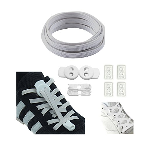 QIUQUEEN No Tie Shoelaces System for Kids or Adults,Flat Elastic Shoe Laces with Two Ways Lock for Sneakers Type3 Ivory ()