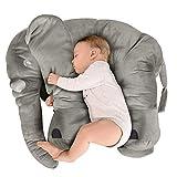 BEEWIES Premium Almohada Para Bebe de Elefante Muy Suave, Blando y Flexible de 65cm Para Usarse Como Juguetes Para Bebes Niño, Juguetes Para Niñas y Mesa de Regalos bebé. Elefante Para Bebe 100% de Algodón Natural, Hecho en México