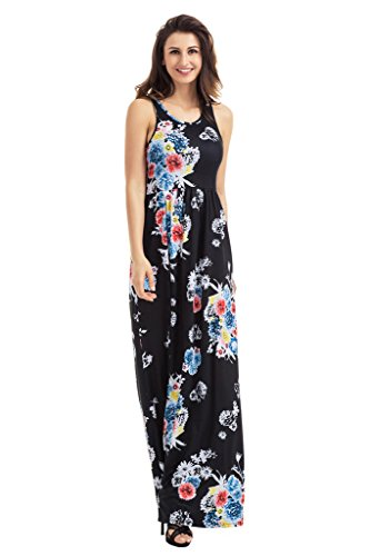 Lovezesent Dress Sleeveless Round Long Neck Maxi Black Women's Casual Print Floral UwUqgrT
