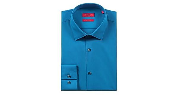 Amazon.com: Hugo Boss Mens C-Jenno Slim-Fit Poplin Cotton Mid Blue Dress Shirt 15.75, 34/35: Clothing