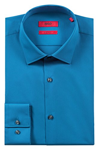 Hugo Boss Men's 'C-Jenno' Slim-Fit Poplin Cotton Mid Blue Dress Shirt 15.75, 34/35