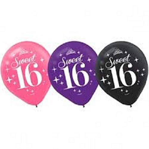 FCS Sweet 16 Balloons Pink, Purple & Black -