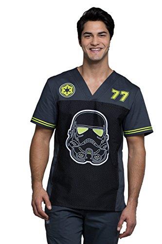 Cherokee Tooniforms Men's V-Neck Star Wars Print Scrub Top Xx-Large Print