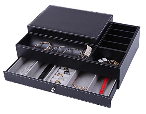 Men Jewelry Box Catch All Valet Tray Black Leather ...