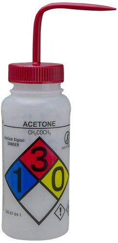 Bel-Art GHS Labeled Safety-Vented Acetone Wash Bottles; 500ml (16oz), Polyethylene w/Red Polypropylene Cap (Pack of 4) (F12416-0001) ()