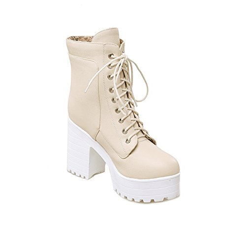 Heels Lace Up Leather AdeeSu Round Toe Imitated Girls Beige Boots Chunky wxZSEO