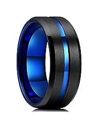 King Will Mens 10mm Black Matte Finish Tungsten Carbide Ring Blue Beveled Edge Wedding Band