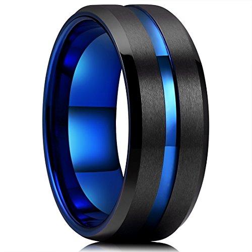 0mm Black Matte Finish Tungsten Carbide Ring Blue Beveled Edge Wedding Band(14) (Duo Band Ring Ring)