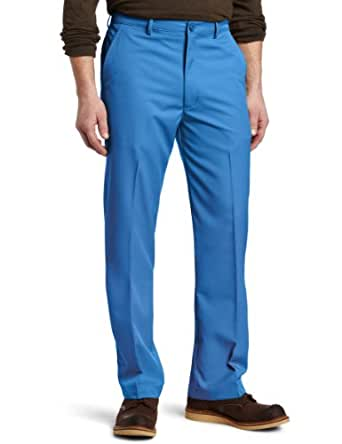 Haggar Men's Cool 18 Moisture Management Plain Front Straight Fit Sport Pant,Bright Blue,33/32