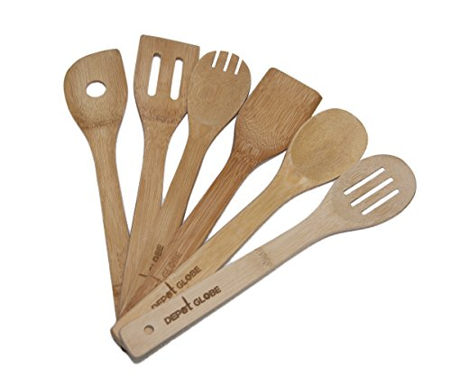 Kitchen Cooking Utensils Bamboo Spoon and Spatula 6 Set - By Depot Globe (Oversized Wooden Spoon compare prices)