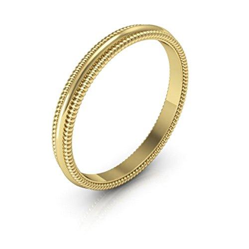 18K Yellow Gold men's and women's plain wedding bands 2mm Milgrain, 6