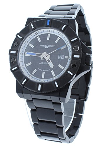 Jorg Gray JG9500-24 Men's Black Swiss Rhonda Movement Stainless Steel Watch Blue/White Accents