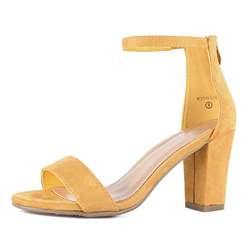 - Womens Ankle Strap Chunky Block High Heel Zipper Closure - Party Dress Open Toe Sandals (7.5 M US, Mustard Suede)