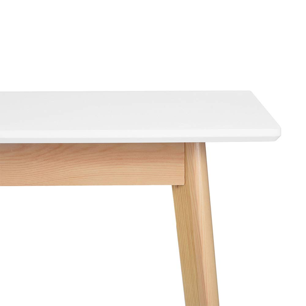 GreenForest Dining Table Mid Century Modern Rectangular Kitchen Leisure Table with Solid Wooden Legs 47.2'' x 27.6''x 30'', White by GreenForest (Image #5)