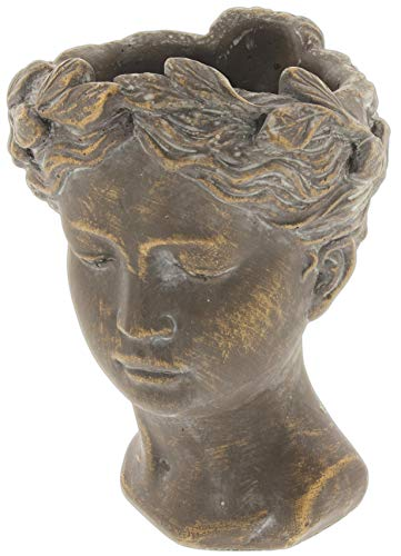 "Lucky Winner Greek/Roman Style Female Statue Head Cement Planter (8"")"