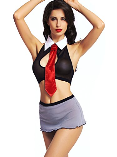 Amoretu Women's Student Union Secretary School Girl Costume, One Size, Black (Cheap Sexy School Girl Outfits)