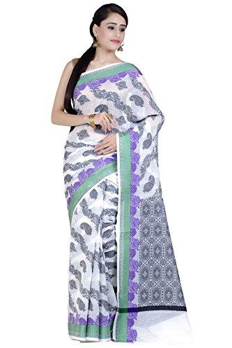 Chandrakala Women's White Supernet Cotton Banarasi Saree(1278WHI) by Chandrakala