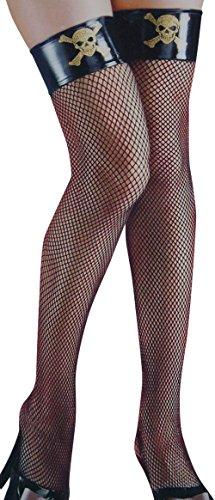 Damen Halloween Verkleidung Schwarze Fischnetz Strümpfe mit Piratenschädel und Gekreuzte Knochen