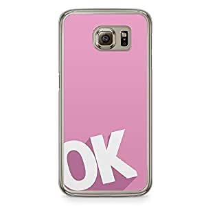 Samsung Galaxy S6 Transparent Edge Phone Case Ok Phone Case Pink Phone Case College Samsung S6 Cover with Transparent Frame