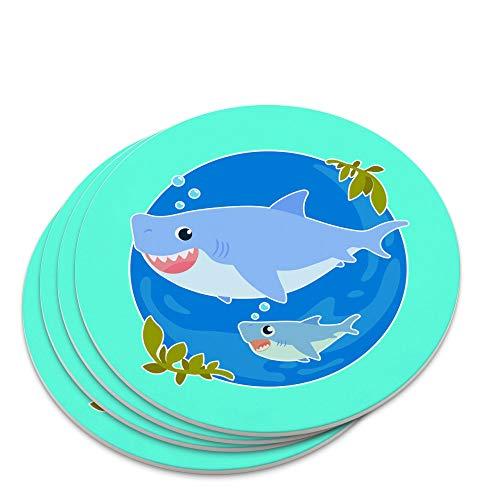(Momma Shark and Baby Swimming in Ocean Novelty Coaster Set)