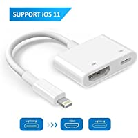 Lightning to HDMI Adapter, Lightning Digital AV Adapter, Sync Screen HDMI Connector 1080P with Lightning Charging Port for iPhone, iPad and iPod Models Support iOS 11-[Power Supply Needed]