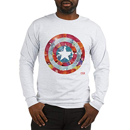 (CafePress Captain America Tie Dye Shield Long Sleeve T Shirt Unisex Cotton Long Sleeve T-Shirt Ash Grey)