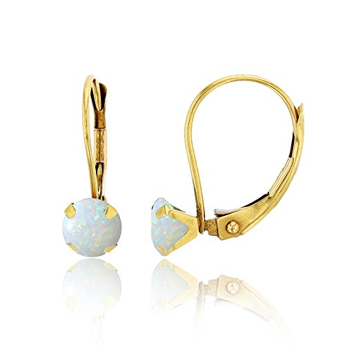 10K Yellow Gold 6mm Round Opal Martini Leverback Earring