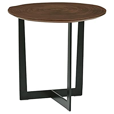 """Amazon Brand – Rivet Bristol Natural Edge Black Metal Side Table, Walnut - With a wood top and metal 3-legged stand, this table is modern yet classic. The wood top is a """"natural edge"""" cut. No two tables are exactly alike; allow for some height variation. This table is a handy landing spot for keys, phones and small table lamps. 18.9""""L x 18.9""""W x 18.2""""H Engineered wood with walnut veneer; metal stand bottom - living-room-furniture, living-room, end-tables - 41N3arnH5tL. SS400  -"""