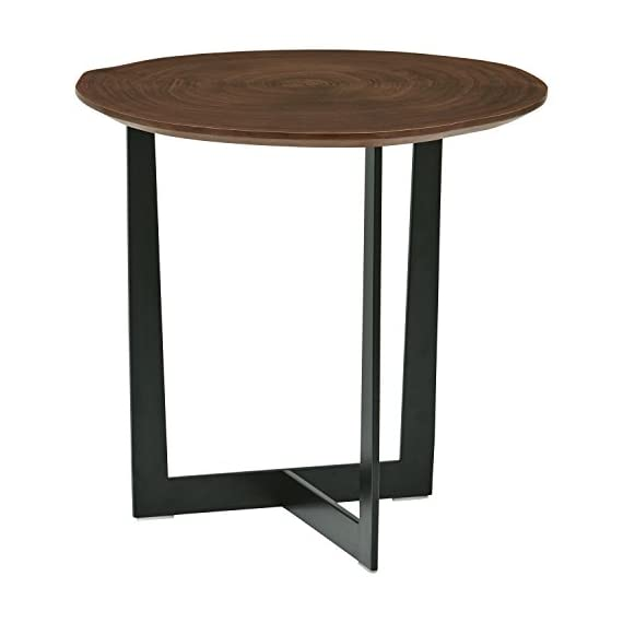 "Rivet Bristol Natural Edge Black Metal Side Table, Walnut - With a wood top and metal 3-legged stand, this table is modern yet classic. The wood top is a ""natural edge"" cut. No two tables are exactly alike; allow for some height variation. This table is a handy landing spot for keys, phones and small table lamps. 18.9""L x 18.9""W x 18.2""H Engineered wood with walnut veneer; metal stand bottom - living-room-furniture, living-room, end-tables - 41N3arnH5tL. SS570  -"