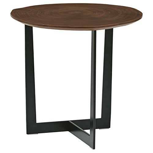 Rivet Bristol Natural Edge Black Metal Side Table, Walnut