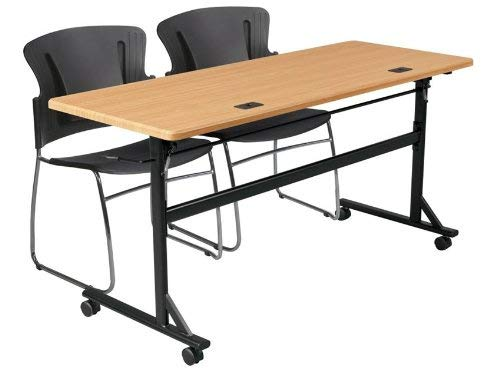 MooreCo Essentials Flipper Training Table 72x24 Teak Top Black Base (90094) by MooreCo (Image #5)
