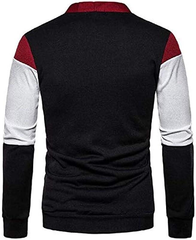 Mens Sweater Button Loose Casual Color Block Knit Sweater Cardigan Coat Jacket: Odzież