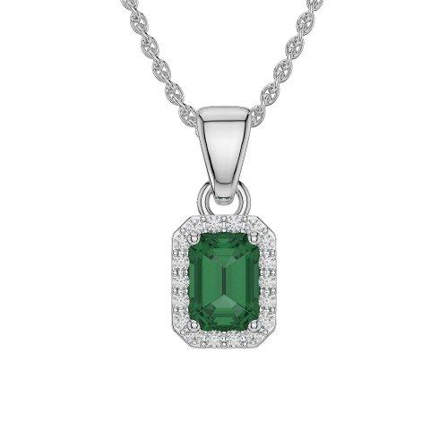 Or blanc 18carats 1.80CT G-H/VS sertie de diamants Forme Émeraude Émeraude et colliers Agdnc-1062